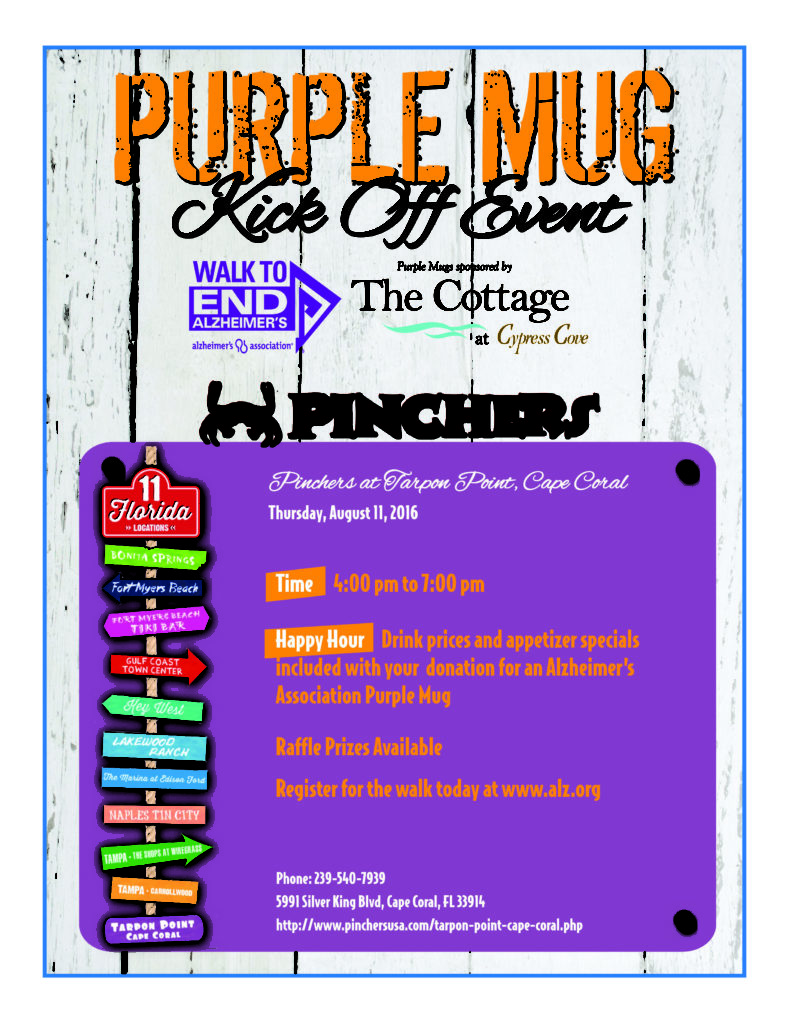 Pinchers Cape Coral Purple Mug Flyer 372817